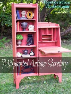 Red Milkpainted Antique Secretary (and a giveaway) - Restoration Redoux Recycled Furniture, Painted Furniture, Furniture Makeover, Diy Furniture, Red Paint, Furniture Inspiration, Secretary, Decoration, Diy Painting