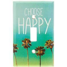 Choose Happy Light Switch Plate ❤ liked on Polyvore featuring home, home decor, decorative hardware, metal home decor, metal switch plates, mint green home decor and metal palm trees