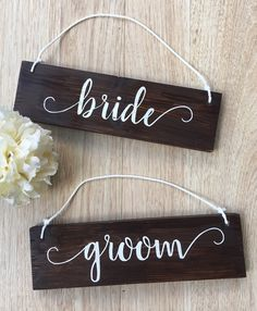 Bride and Groom Chair Signs - Rustic Wood Wedding Signs - Rehearsal dinner decor…
