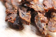 How To: Homemade Paleo Beef Jerky.i'm missing jerky the most while doing hard to find it without some form of sugar. Good Healthy Recipes, Paleo Recipes, Free Recipes, Meat Recipes, Paleo Beef Jerky, Boca Burger, Beef Jerkey, Pork And Beef Recipe, Breakfast Snacks