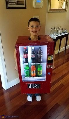 I made this costume for my son JJ two years ago. He wanted to be a vending machine (of all things). BODY Made out of a cardboard box, with head and arm holes cut. The box was then covered with duct tape and spray painted a. Epic Costumes, Candy Costumes, Boy Costumes, Costume Ideas, Halloween Candy Crafts, Homemade Halloween Costumes, Halloween Crafts, Halloween 2020, Boxing Halloween Costume