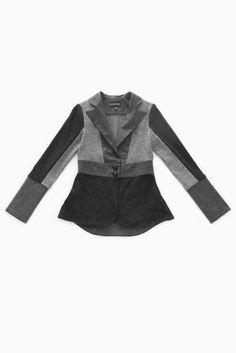 Jennifer Fukushima -recycled wool sweater blazer- grey and black- herringbone-hemp and recycled polyester