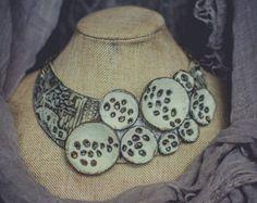 Statement necklace large Bib necklace tribal от ZaiZaiJewelry