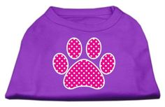 Mirage cat Products Pink Swiss Dot Paw Screen Print Shirt, X-Large, Purple ** Discover this special product, click the image (This is an amazon affiliate link. I may earn commission from it)