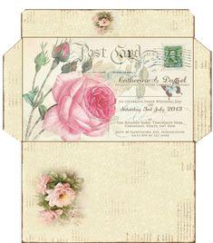 Vintage Crafts, Vintage Ephemera, Vintage Paper, Envelope Template Printable, Printable Paper, Envelope Art, Envelope Pattern, Handmade Journals, Journal Cards