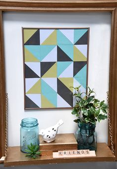 Create your own geometric poster using Spellbinders Square Nestabilities dies. Created by Michelle Ridge.