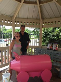 The Pink Pistol Blake and Miranda cooking hot dogs at the Rummage Sale on Saturday!