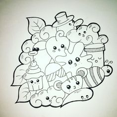 Cute doodle art, easy doodle art и doodle art journals. Cute Easy Doodles, Cute Doodle Art, Doodle Art Designs, Doodle Art Drawing, Doodle Sketch, Doodle Ideas, Doodle Art Name, Mini Drawings, Easy Cartoon Drawings