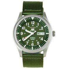 Seiko 5 Sport Automatic Khaki Green Canvas Green Dial Mens Watch SNZG09