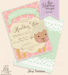 Printable invitations - baby shower invitation - sheep invitation - calligraphy - lace invitation. $16.50, via Etsy.