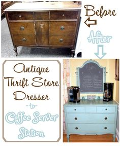 Antique Thrift Store Dresser -to- Coffee Server Station / Artsy Chicks Rule