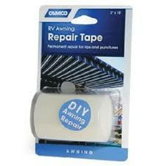 "May want to keep some of this onboard George.   Camco 3"" Awning Repair Tape, Permanent repair for rips and punctures. Aggressive adhesive; resists tearing in any direction. Use for RV awnings, boat sails, canvas, tents, rain wear, backpacks, pool covers and liners, seat covers, popup campers and more. Your Price: $13.12"