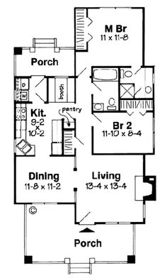Craftsman Style House Plan - 2 Beds 1.5 Baths 964 Sq/Ft Plan #312-596 Floor Plan - Main Floor Plan - Houseplans.com