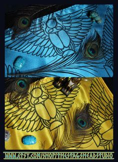 Double Sided Winged Scarab Altar Cloth by Imogen Smid of The Stag's Head Studio - Pagan Altar, Khepri, Kheper, Egyptian Mythology, Ancient Egypt
