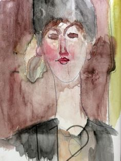 Watercolor. Modigliani, Draw, Watercolor, Artist, Painting, Pen And Wash, Watercolor Painting, To Draw, Artists