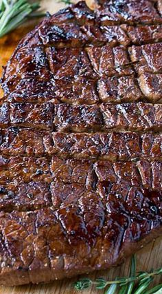 Grilled London Broil- Grilled London Broil Recipe ~ Says: This Grilled London Broil is juicy and flavorful and cooks in just a matter of minutes. Making shallow cuts on each side of the meat helps it cook up just right and lets the flavor of the marinade really get into the meat.