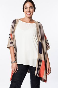 Graphic Knit Kimono Cardigan - Mocha