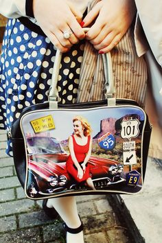 Pin-up/Navy outfit ♥ Black, White, Red and Blue ♥ Black and white cardigan + Polka dots skirt + Marilyn Monroe bag