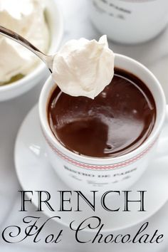 French Hot Chocolate with Whipped Cream I can not wait to try this out. Just add the milk, cream, powder sugar, and espresso in a pan and heat til it bubbles around the edges. Stir in chocolate. Top with whip cream. Just Desserts, Delicious Desserts, Dessert Recipes, Yummy Food, Tasty, Frosting Recipes, Drink Recipes, Hot Chocolate Bars, French Hot Chocolate Recipe