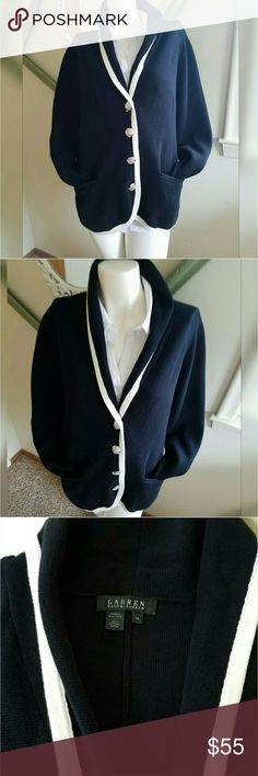 """Lauren by Ralph Lauren Cardigan Dark Navy Blue & white with silver buttons. Side pockets. V neck with collar. Gentlyworn. 100% cotton.  Measurements  Chest 42.5"""" - 44"""" Waist 35"""" - 36.5""""  Length 26"""" Sleeve length 25.5""""   Get an additional 30% off when purchasing 3 or more items using the bundle feature. Always willing to negotiate. Lauren Ralph Lauren Sweaters Cardigans"""