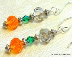 Orange green and silver earrings by EyeCandybyCathy on Etsy, $16.00