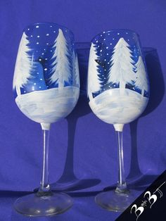 Hand Painted Snowman Wine Glasses | ... , pine trees, hand painted, glassware, wine glasses, brandi bruggman