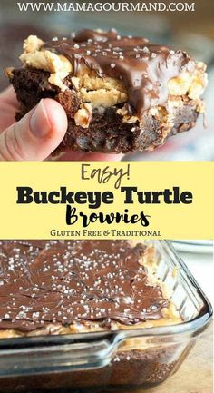 Is there anything better than peanut butter and chocolate? Buckeye Turtle Brownies are an easy recipe that takes peanut butter and chocolate raises it with fudgy brownies, gooey caramel, pecan turtle topping. Turtle Brownies, Fudgy Brownies, Buckeye Brownies, Chocolate Brownies, Caramel Brownies, Chocolate Chocolate, Chocolate Truffles, Eat Dessert First, Dessert Bars
