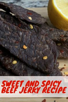 Sweet and Spicy Beef Jerky Recipe: A Big Treat with a Little Heat! Ground Beef Jerky Recipe, Smoked Beef Jerky, Sweet And Spicy Beef Jerky Recipe Dehydrator, Best Beef Jerky Recipe Dehydrator, Jerky Seasoning Recipe, Recipe Marinade, Beef Jerky Marinade, Sweet And Spicy Jerky Recipe, Honey Garlic Jerky Recipe