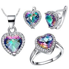 EpinkiJewelry Set Necklace Earrings Rings Hearts jewelry Elements Crystal AAA CZ Size 9 >>> Find out more about the great product at the image link.