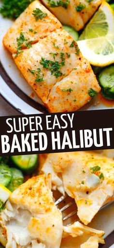 The Easiest Baked Halibut recipe – quick to make, juicy, flavorful and delicious weeknight dinner paired with veggies or salad. Baked Halibut Recipes, Basa Fillet Recipes, Halibut Baked, Healthy Baked Fish Recipes, Easy Halibut Recipe, Fresh Fish Recipes, Baked Fish Fillet, Clam Recipes, Kitchens