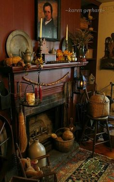 Antique fireplace sitting area-love it..