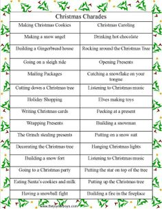Christmas Charades is a fun family Christmas party game that kids and adults will love. Make some new memories with your family with Christmas charades! Family Christmas Party Games, Christmas Friends, Xmas Games, Holiday Games, Xmas Party, Christmas Music, Christmas Carol, Winter Christmas, Holiday Fun