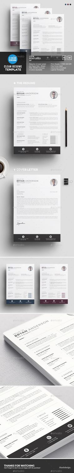 Resume Design Template - Resumes Template PSD. Download here: https://graphicriver.net/item/resume/16993688?s_rank=167&ref=yinkira