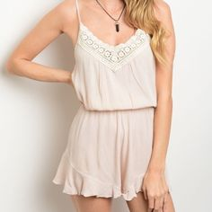 """TODAY ONLY! NEW nude romper with crochet neckline This spaghetti strap woven romper features a v-neckline trimmed in crochet, blouson bodice and flouncy hem on shorts.  Fabric Content: 100% POLYESTER Description: L: 31"""" B: 14"""" W: 11"""" Pants Jumpsuits & Rompers"""