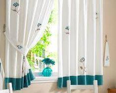 blue and white bright modern kitchen curtains BECOUZ Cool Curtains, Beautiful Curtains, White Curtains, Home Interior Design, Exterior Design, Interior And Exterior, Modern Kitchen Curtains, Curtains Walmart, Curtain Designs