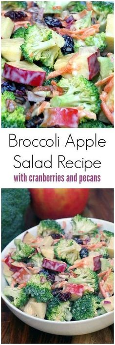 Salade crémeuse aux pommes et au brocoli This broccoli apple salad recipe is easy to make with plenty of crunch. No bacon so it is a great meatless salad recipe and uses a lower in fat dressing by including yogurt for part of the mayonnaise. A healthy rec Apple Salad Recipes, Cranberry Recipes, Great Salad Recipes, Easy Apple Salad Recipe, Lunch Salad Recipes, Keto Apple Recipes, Health Salad Recipes, Yogurt Recipes, Watermelon Recipes