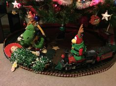 Dec 5 : day 2 Christmas elf  Sven our Christmas elf is up to no good!! has Jessie tied to the train tracks!! Can woody and Rex rescue her?!