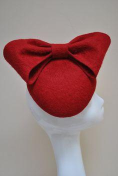 Red Bow Side Beret Red Fur Felt Hat by AoifeKirwanMillinery