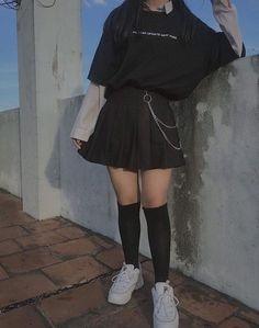 Best Models of Skirts for Teens to Look Fashionable - Ulzzang Fashion - Edgy Outfits, Mode Outfits, Korean Outfits, Girl Outfits, Fashion Outfits, Fashion Trends, Soft Grunge Outfits, Gothic Outfits, Fashion Boots