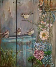 My painting on wood 50x60cm