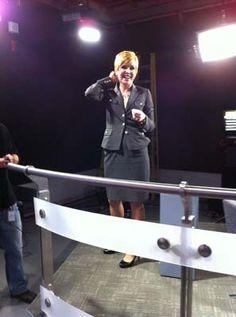 Pattie under the studio lights during rehearsals for The Pattie Lovett-Reid Show.
