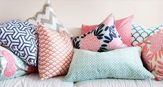 Teal, navy blue, coral, and gray...all the colors I want for my new bedroom