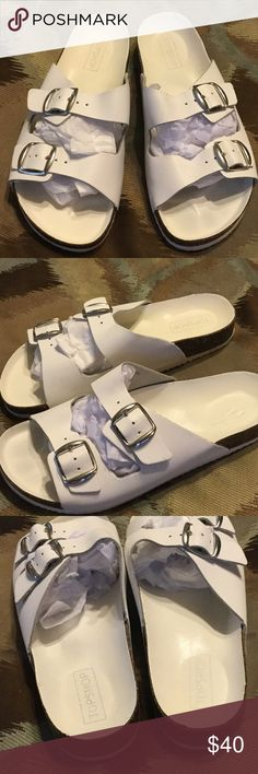 "GET THESE TOP SHOP DOUBLE BUCKLE SANDALS! White color sandals with a silver color buckle and 1"" platform heels.  Lightly used, good condition.  Made in Italy.  Size 37.   Has silver color buckle, not white. The item being sold is in pics 2-5. The other image obtained from Google images. Top Shop Shoes"