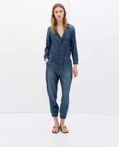 Image 1 of DENIM JUMPSUIT from Zara