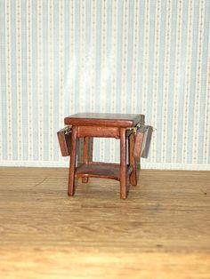 "1:24 half scale 3/"" Miniature Dollhouse Dropleaf Table S0811WN Walnut JBM"