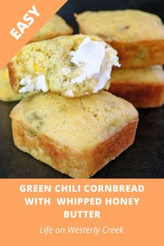 45 minutes · Vegetarian · Serves 12 · This green chili cornbread is so full of flavor and easy to make. By adding whipped honey butter, this cornbread is out of this world good! #cornbread #greenchili #honeybutter #soulfood… Green Chili Cornbread Recipe, Classic Cornbread Recipe, Honey Cornbread, Great Recipes, Favorite Recipes, Easy Recipes, Mexican Food Recipes, Vegetarian Recipes, Recipe Maker