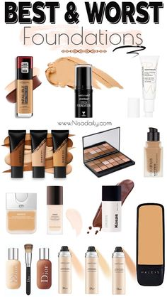 There's, of course, a few in here that I'm like get lost. We're gonna chat about those as well, so let's just dive right into everything foundation because it is such an important step in your you know makeup routine. Best Foundation For Combination Skin, Best Foundation For Dry Skin, Bb Cream Foundation, Best Drugstore Foundation, Foundation Dupes, Drugstore Makeup Dupes, No Foundation Makeup, Makeup Cosmetics, Best Full Coverage Foundation