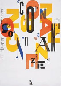 Consonanze: Echoes and Reflections from Our Collection, Museo Cantonale d'Arte, Lugano, 2000 / by Bruno Monguzzi Creative Typography, Typography Art, Graphic Design Typography, Typo Poster, Typographic Poster, Typography Inspiration, Graphic Design Inspiration, Art Exhibition Posters, Art Posters