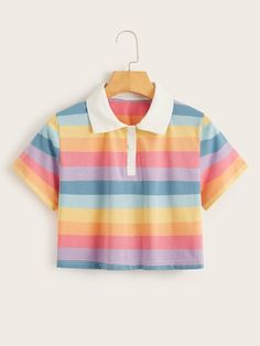To find out about the Rainbow Stripe Crop Polo Tee at SHEIN, part of our latestT-Shirts ready to shop online today! Girls Fashion Clothes, Teen Fashion Outfits, Mode Outfits, Girl Fashion, Girl Outfits, Clothes For Women, Stylish Clothes, Emo Fashion, Womens Fashion