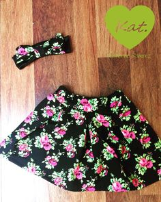 Floral pleated skirt and matching bow headband by Kattramirez